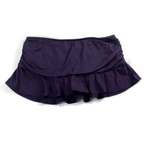 Lands End Swim Skirt Ruffle Ruched Purple